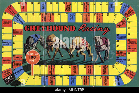 Board game based on the sport of greyhound racing, reflecting its popularity during the 1920s and 30s.       Date: c.1930 - Stock Photo