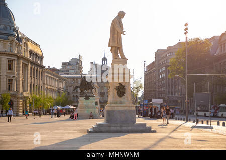 Bucharest, Rumania - 28.04.2018: Statues on University Square, located in downtown Bucharest, near the University of Bucharest - Stock Photo