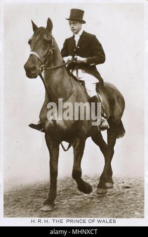 Prince of Wales, later King Edward VIII, on horseback.      Date: 1920s - Stock Photo