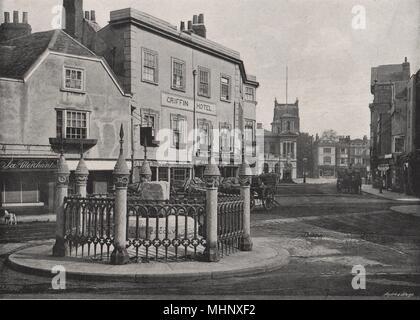 KINGSTON-ON-THAMES. Coronation stone and market-place. Surrey 1900 old print - Stock Photo