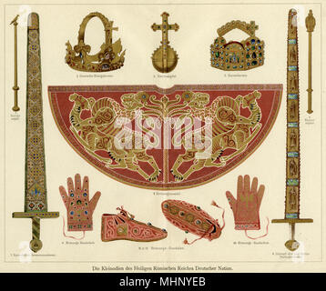 Some of the coronation regalia of the Holy Roman Empire of the German Nation: 1. German Royal Crown; 2. Imperial Crown; 3. Orb; 4. Coronation Robe; 5. King's Sceptre; 6. Imperial Sceptre; 7. Imperial Ceremonial Sword; 8. Sword of Saint Moritz; 9/10. Coronation Gloves; 11/12. Coronation Sandals.      Date: medieval - Stock Photo