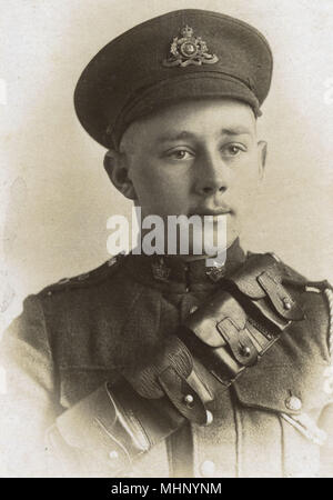 Soldier of the Canadian 53rd Field Artillery, Canadian Expeditionary Force, towards the end of the First World War.      Date: circa 1918 - Stock Photo