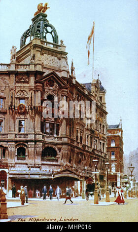 The Hippodrome building on the corner of Charing Cross Road and Leicester Square in the City of Westminster, London.     Date: 1900s - Stock Photo
