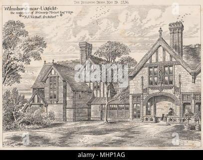 Wilmshurst, nr Uckfield, house of St. George Mivart; SJ Nicholl Architect 1876 - Stock Photo