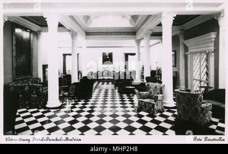 Interior view of the Savoy Hotel, Funchal, Madeira.      Date: circa 1940 - Stock Photo