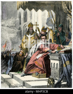 Coronation of William I after his conquest of England, 1066. Hand-colored woodcut - Stock Photo