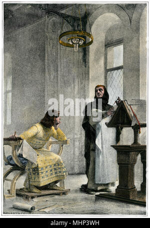 Education of Louis IX (Saint Louis), King of France. Hand-colored halftone of an illustration