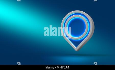 Pointer on blue background. 3d illustration. Set for design presentations. - Stock Photo