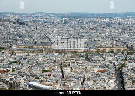 Paris Louvre and city view aerial landscape from montparnasse tower - Stock Photo