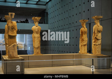 Greek art. The Caryatid Porch of the Erechtheion. Draped female figures as supporting columns. Acropolis of Athens, 421-407 BC. Greece. Acropolis Museum. Athens. Greece. - Stock Photo