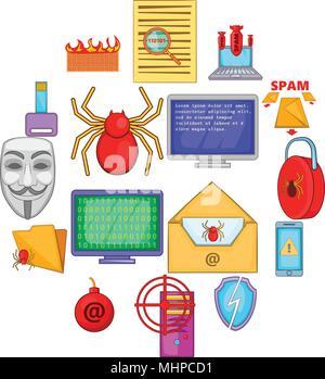 Computer security icons set, cartoon style - Stock Photo