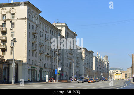 MOSCOW, RUSSIA - APRIL 30, 2018:  Tverskaya Street, known between 1935 and 1990 as Gorky Street, main radial street in Moscow - Stock Photo