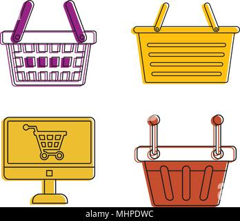 Shop basket icon set, color outline style - Stock Photo