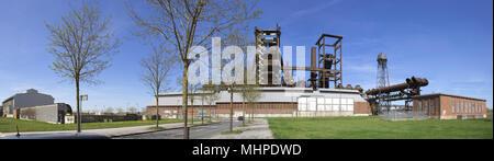 Dortmund, Ruhr Area, North Rhine Westphalia, Germany - April 16 2018: Panoramic skyline of steel mill Phoenix West in dortmund - Stock Photo