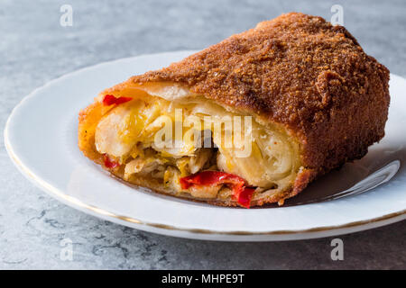 Turkish Avci Boregi / Hunter Pastry Fried Rolls with Chicken and Vegetables. Traditional Food. - Stock Photo
