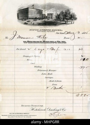 Hotel bill, Fifth Avenue Hotel, Madison Square, New York, USA, dated 3 August 1886, for two days' board in Room 45, totalling $38.85.      Date: 1886 - Stock Photo
