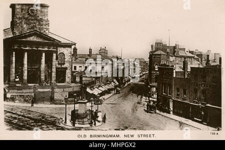 Aerial view of New Street, Birmingham, West Midlands, UK, with the old Christ Church on the left (later demolished), the Waterloo Bar (left of centre), the Oldham Cooper pub (right of centre) and Corbett's Temperance Hotel (right).      Date: circa 1880s - Stock Photo