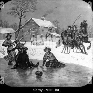 Home Sweet Home -- a tumble on the ice.   (2 of 5)       Date: circa 1890s - Stock Photo