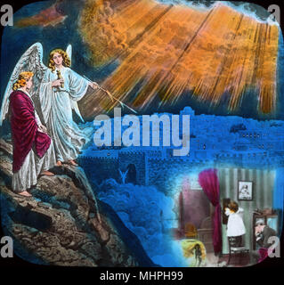 Sentimental scene -- For She Knew the Better Land. In the lower right, a little girl looks at a lantern slide projection of her departed mother, while her father bows his head in grief. In the upper left, an angel points to an image of Jerusalem, on which the sun's rays are shining, suggesting that the girl's mother has gone to heaven.   (1 of 2)       Date: circa 1890s - Stock Photo
