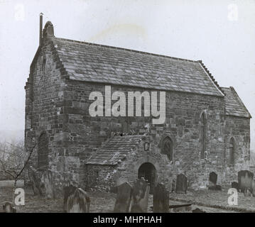 The Saxon Church at Escomb, Bishop Auckland, County Durham, dating back to the 7th century, a Grade I listed building.      Date: circa 1900s - Stock Photo