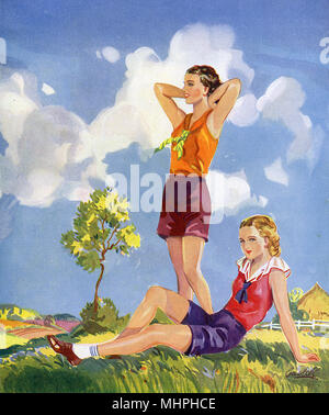 Two young ladies enjoying the health benefits of a good walk in the countryside on a hot summer day. What is this life if, full of care, We have no time to stand and stare? (From Leisure by W. H. Davies)     Date: circa 1935 - Stock Photo