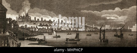 View of London across the Thames during the Great  Fire of London       Date: 2nd September 1666 - Stock Photo