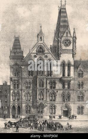 The Congregational Memorial Hall, Farringdon Street, London c1880 old print - Stock Photo