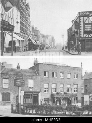 LONDON. The steep high street and an old ale- house of Highgate village 1926 - Stock Photo