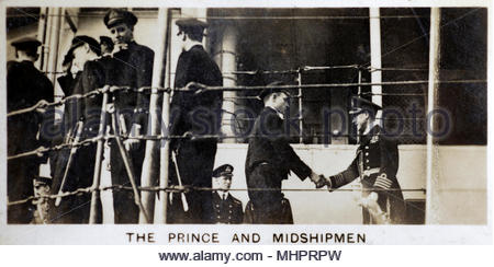 The Prince of Wales, later King Edward VIII, saying farewell to the midshipmen of H.M.S. Renown after one of his tours 1920s - Stock Photo