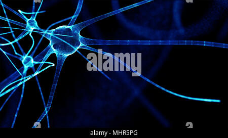 Artificial intelligence and deep learning technology concept. Blur programming coded and blue brain Cells background. - Stock Photo