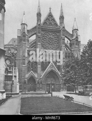 WESTMINSTER ABBEY. North front and the main entrance to the Abbey 1926 print - Stock Photo