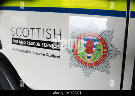 Scottish Fire and Rescue livery on a white fire engine - Stock Photo