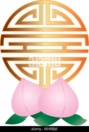 Chinese Longevity Gold Symbol Character With Scroll Border For