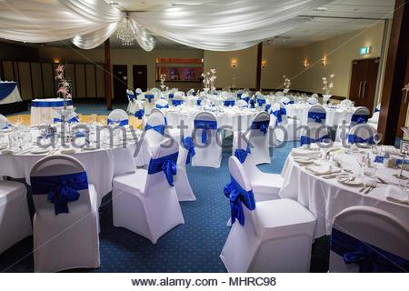 Wedding Reception Set Up Using A Blue And White Theme Stock Photo