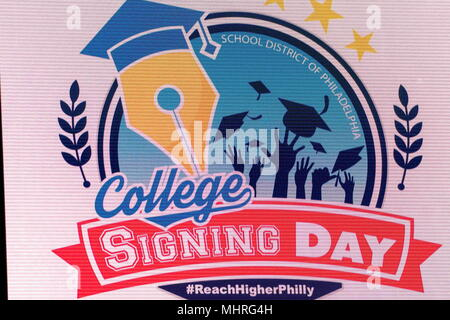 Philadelphia, Pennsylvania, USA. 2nd May, 2018. College signing day sign at Temple University's Liacouras Center in Philadelphia Pennsylvania Credit: Ricky Fitchett/ZUMA Wire/Alamy Live News - Stock Photo