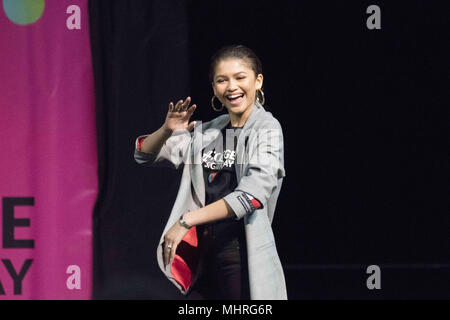 Philadelphia, Pennsylvania, USA. 2nd May, 2018. Actress, ZENDAYA, at the College signing day rally at Temple University's Liacouras Center in Philadelphia Pennsylvania Credit: Ricky Fitchett/ZUMA Wire/Alamy Live News - Stock Photo