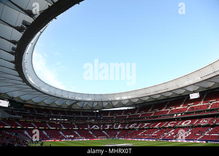 Madrid, Spain. 3rd May 2018. A general view of the Wanda Stadium before the UEFA Europa League Semi Final Second Leg match between  Atletico de Madrid and Arsenal FC started at the Wanda Metropolitano Stadium in Madrid, Spain. Final Score (Atletico de Madrid 1-0 Arsenal FC). Credit: SOPA Images Limited/Alamy Live News - Stock Photo