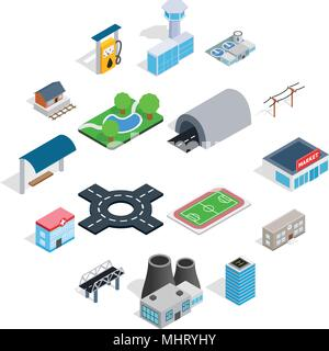 Infrastructure icons set, isometric 3d style - Stock Photo