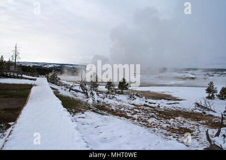 Geyser steam rising off wooden boardwalk in winter at Old Faithful area in Yellowstone National Park in United States - Stock Photo