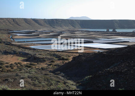 Salinas de Janubio are salt flats in Lanzarote of the Canary Islands. The waters from the natural lagoon are evaporated to yield the salt. - Stock Photo