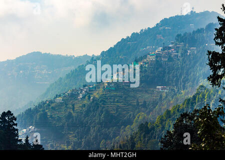 Beautiful homes in the town of Dalhousie, Himachal Pradesh, India, Asia. - Stock Photo