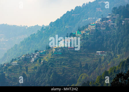Beautiful homes in the town of Dalhousie, Himachal Pradesh, India, Asia. - Stock Photo