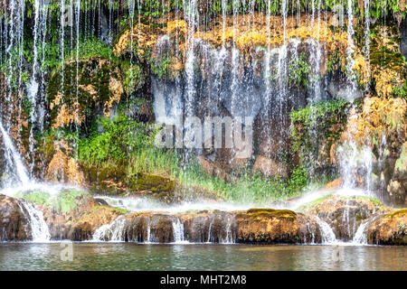 Waterfall in Royal palace and Garden in Caserta, Italy - Stock Photo