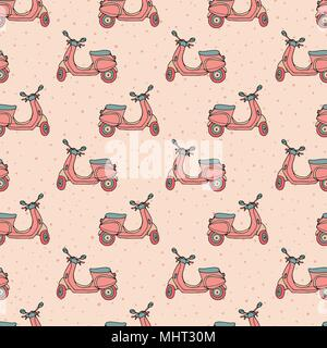 Hand drawn vector seamless pattern with retro scooters on the pink polka dot background. Vintage design. - Stock Photo