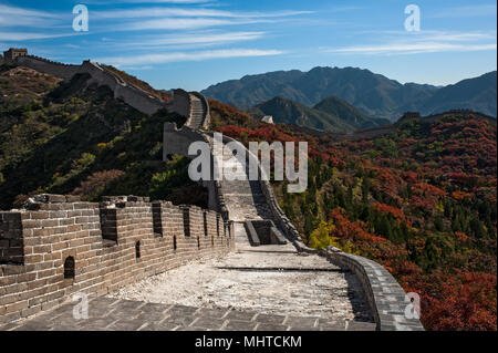 Great Wall on mountain in Beijing - Stock Photo