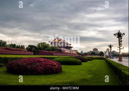 The morning in Tiananmen tower - Stock Photo