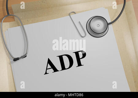 3D illustration of ADP title on a medical document - Stock Photo