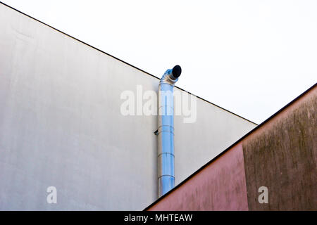 graphical architecture detail with a ventilation pipe and two walls - Stock Photo