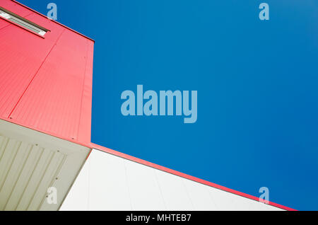 red and white modern building detail - Stock Photo