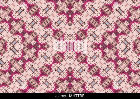 Kaleidoscope image photography with pink leaves and windows. Kaleidoscope background - Stock Photo
